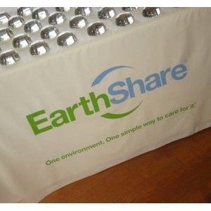 "6' 4-sided 90"" x 132"" Organic Cotton Tablecloths with 1-color Screen-print Logo"